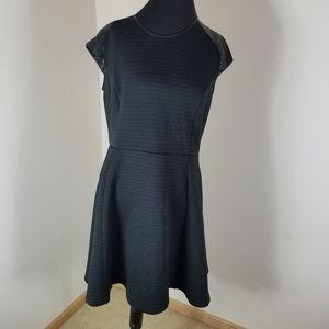 Massimo Black Skater Dress Faux Leather Cap Sleeve